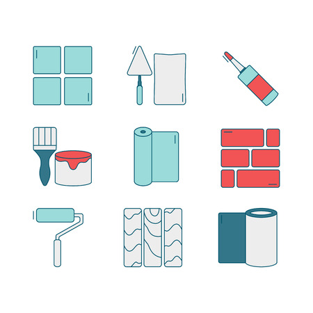 Vector set of line icons for DIY, finishing materials, including tools.