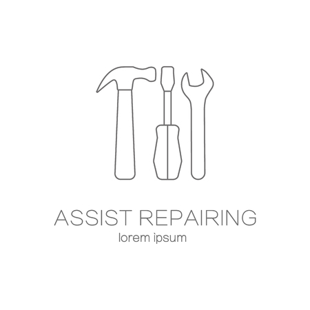 turn screw: Assist repairing service logotype design templates. Illustration