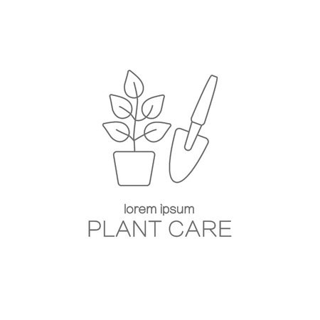 pictogram people: Plant care logotype design templates.