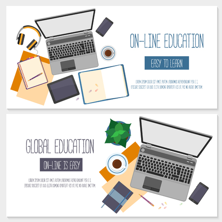 distance education: Flat design banners for online education, training courses, e-learning, distance training. Illustration