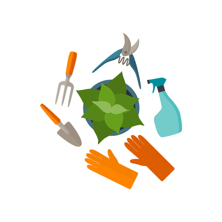 pot holder: Flat design tools for gardening and plant care. Set icons isolated on white with long shadow. Illustration