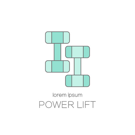 Vector line style logo with a dumbbell. Vectores