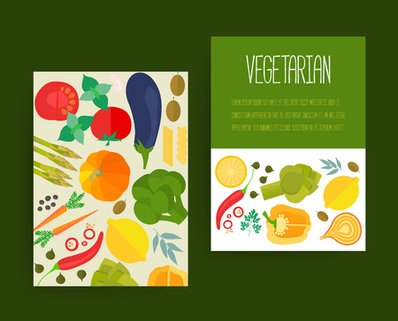home cooking: Banners with flat vegetable icons for vegetarian restaurant, home cooking menu and organic healthy eating recipes.