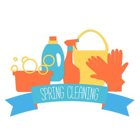 servicio domestico: logo plana para el servicio de limpieza aislados en blanco.