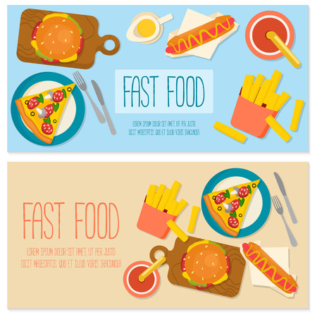 Flat design banner with fast food.