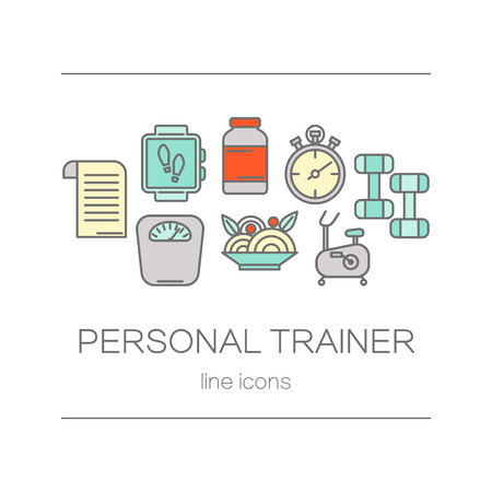 trainers: Concept of title site page or banner for personnel trainer program includes sports equipment, objects for gym training, bodybuilding and active lifestyle.