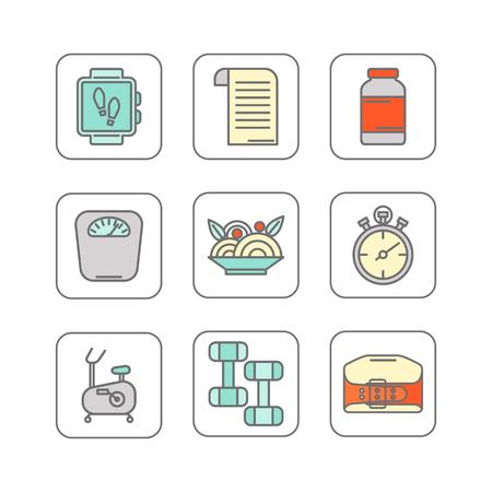Vector set d'icônes de ligne de couleur Vecteurs