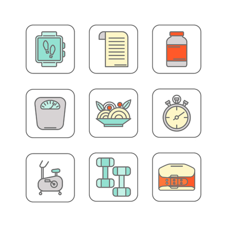 gym: Vector set of color line icons