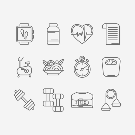 personal trainer: Vector set of modern flat line icons for personal trainer program includes sports equipment