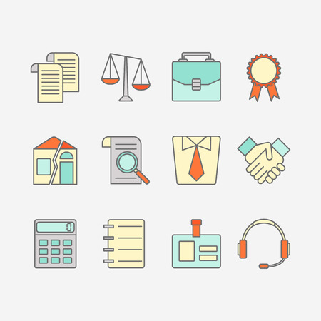 INVOICE: Vector set of color flat line icons for law firm includes blank icons Illustration