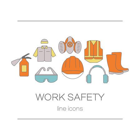 elementos de protección personal: Concepto de la página web del título o banner para el trabajo de seguridad que incluye herramientas. Modernas etiquetas de estilo de línea de los elementos de seguridad y protección. Ilustración del vector.
