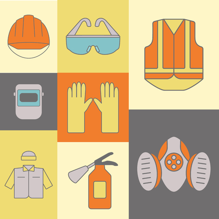 safety at work: Vector background of safety work icons, including tools.