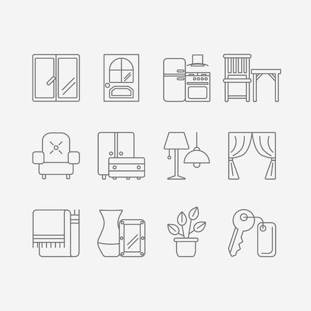 벡터 인테리어 디자인을위한 현대 플랫 라인 아이콘 집합 웹 사이트 가구, 장식 요소 및 가벼운 디자인 기호가 포함되어 있습니다.