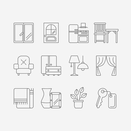 Vector set of modern flat line icons for interior design website includes furniture, decor elements and light design symbols.