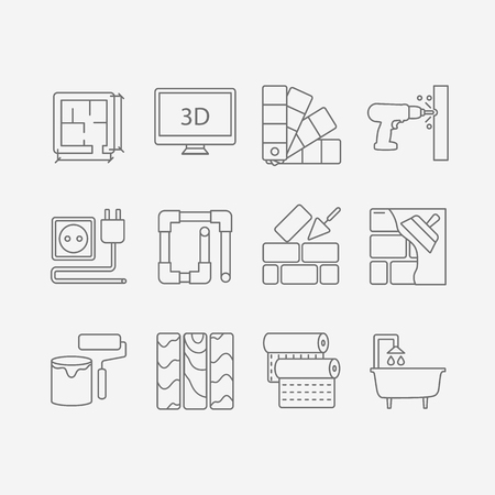 sanitary engineering: Vector set of modern flat line icons for interior design website includes objects for finishing works and building elements .