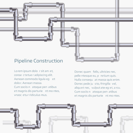 Abstract horizontal background with flat designed pipeline. Illustration