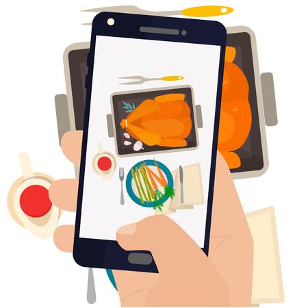Hand, die ein Smartphone Foto Abendessen mit gebratenem Truthahn und Gemüse. Vektorgrafik