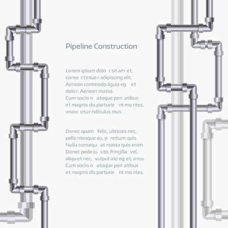 Abstract vertical background with flat designed pipeline. Vectores