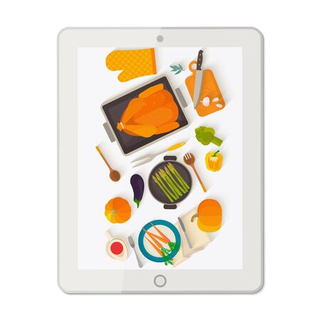 blogs: Banner with tablet making food photo.