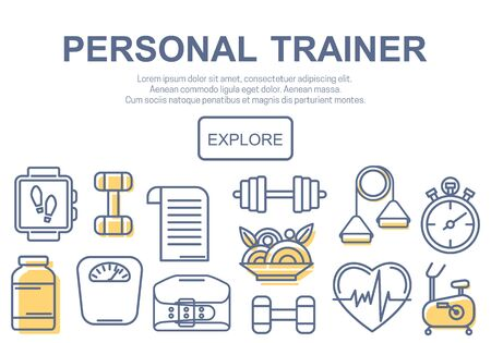 trainers: Concept of title site page or banner for personnel trainer program includes sports equipment, objects for gym training, bodybuilding and active lifestyle. Vector illustration.