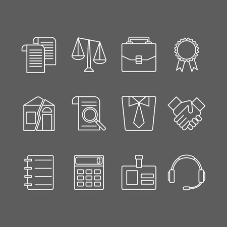 division: Vector set of modern flat line icons for law firm includes blank icons, tariffs, division of property, etc. Juridical elements isolated on background.