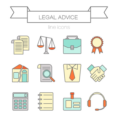 juridical: Vector set of color flat line icons for law firm includes blank icons, tariffs, division of property, etc. Juridical elements isolated on background. Illustration