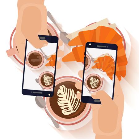 Manos que hacen una foto teléfono inteligente de capuccino desayuno café y un cruasán. tendencia moderna la toma de fotografías de platos en restaurantes. ilustración vectorial diseño plano.