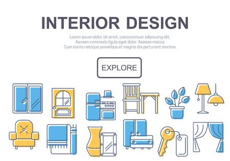 kitchen furniture: Concept of title site page or banner for interior design website includes furniture, decor elements and light design symbols. Vector illustration. Illustration