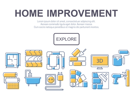 renovations: Concept of title site page or banner for home improvement website includes objects for finishing works, renovation and building elements. Vector illustration.