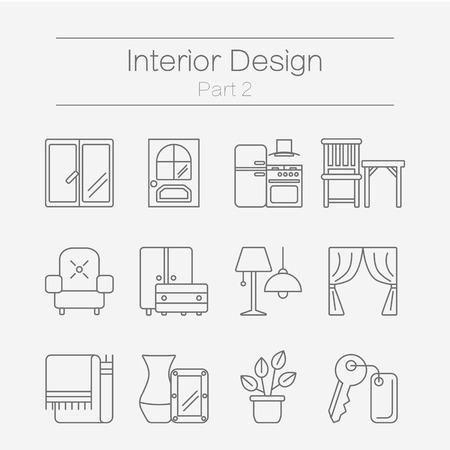 벡터 인테리어 디자인을위한 현대 플랫 라인 아이콘 세트 웹 사이트 가구, 장식 요소 및 조명 디자인 기호를 포함합니다. 배경 2 부에 격리 된 인테리어 일러스트