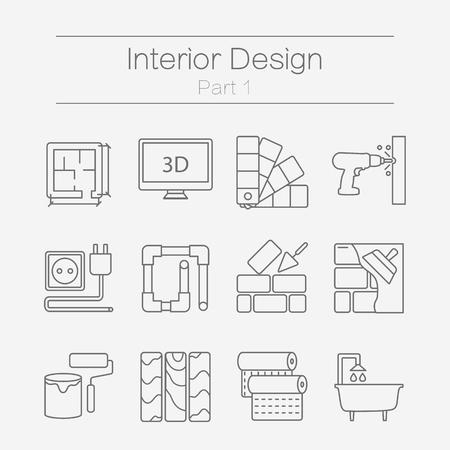planos electricos: Vector conjunto de iconos de líneas planas modernas para el sitio web incluye mejoras para el hogar objetos para el acabado de elementos de obra, de renovación y de construcción. Iconos del diseño de interiores aislados en el fondo la parte 1. Vectores