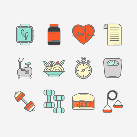 expander: Vector set of color flat line icons for personal trainer program includes sports equipment,  objects for gym training, bodybuilding and active lifestyle. Fitness elements isolated on background.