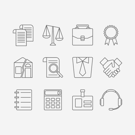 juridical: Vector set of modern flat line icons for law firm includes blank icons, tariffs, division of property, etc. Juridical elements isolated on background.