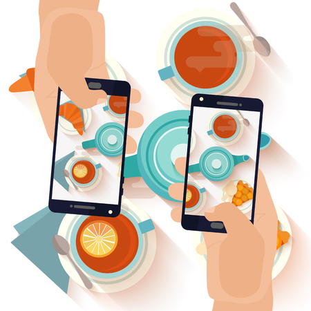 Hands making a smartphone photo of breakfast tea and apricot pie. Modern trend taking pictures of food in restaurants.  Flat design vector illustration.