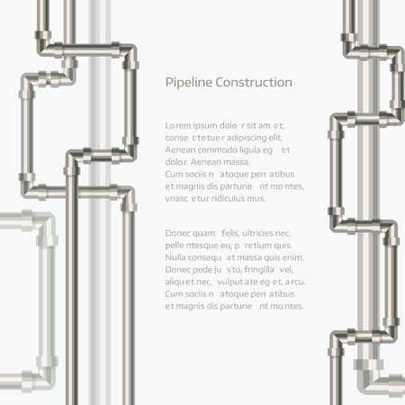 conduit: Abstract vertical background with flat designed pipeline. Concept for web newsletters water, wastewater or oil pipeline industry. Vector illustration.