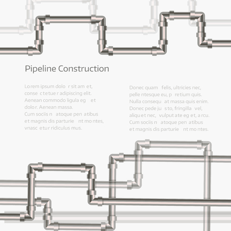 purification: Abstract horizontal background with flat designed pipeline. Concept for web newsletters water, wastewater or oil pipeline industry. Vector illustration.