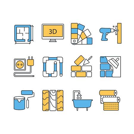 Vector set van de moderne vlakke lijn kleur pictogrammen voor home improvement website bevat objecten voor afwerking, renovatie en bouwelementen.