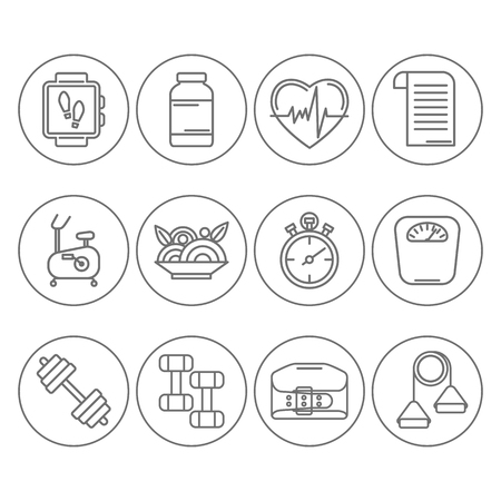 Vector set of modern flat line icons for personal trainer program includes sports equipment,  objects for gym training, bodybuilding and active lifestyle. Fitness elements isolated on background.
