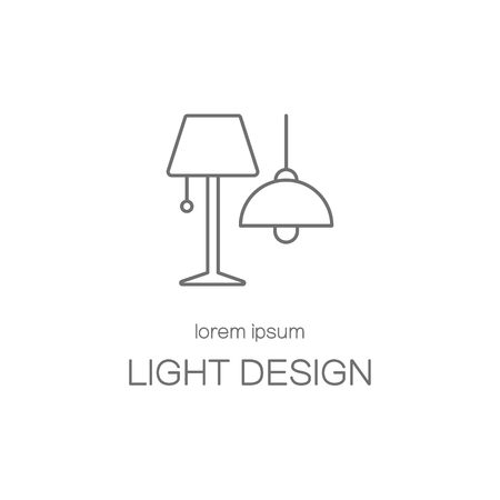 interior layout: Light desigh house line icon logotype design templates. Modern easy to edit logo template. Vector logo design series. Illustration