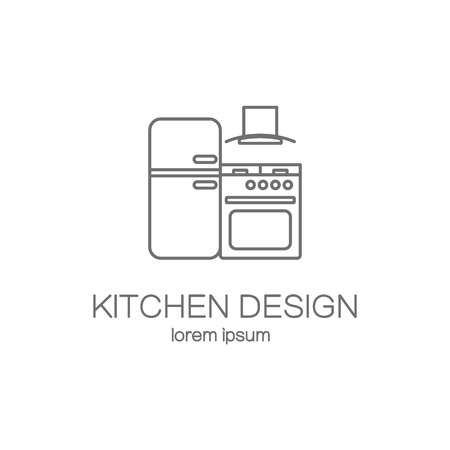 Kitchen design line icon web logotype design templates. Modern easy to edit logo template. Vector logo design series.