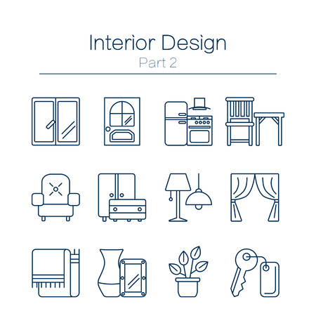 sofa furniture: Vector set of modern flat line icons for interior design website includes furniture, decor elements and light design symbols. Interior design icons isolated on white background.