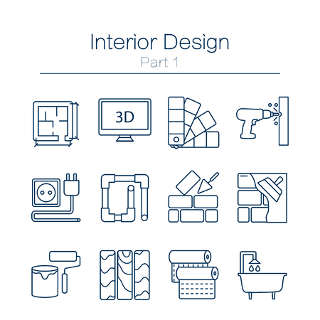 Vector set of modern flat line icons for home improvement website includes objects for finishing works, renovation and building elements . Interior design icons isolated on  white. 矢量图像