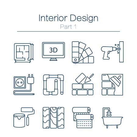 Wektor zestaw ikon nowoczesnych linii płaskich na stronie domowej poprawy obejmuje obiekty do prac wykończeniowych, renowacji i elementów budowlanych. Ikony projektowania wnętrz na białym tle.