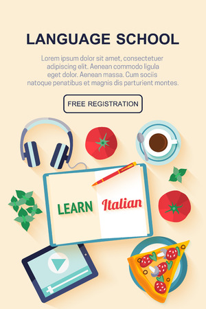 international students: Vertical flat banner for italian language courses with icons of pizza, coffee, croissant, basil, tomato - typical symbols of Italian cuisine. Concept for  web banner, header website or newsletter. Illustration