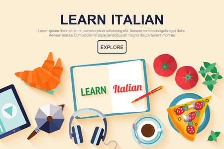 web banner: Horizontal flat banner for italian language courses with icons of pizza, coffee, croissant, basil, tomato - typical symbols of Italian cuisine. Concept for  web banner, header website or newsletter.