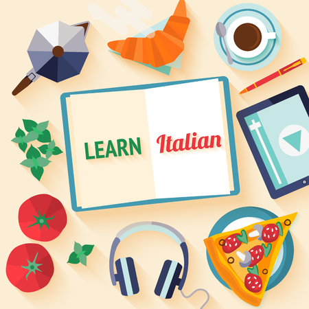 italia: Flat design web banner for italian language courses with icons of pizza, coffee, croissant, basil, tomato - typical symbols of Italian cuisine. Concept for  web banner, header website or newsletter.