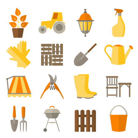 garden plant: Flat design icons for gardening and plant care  include tools and DIY for garden. Set icons isolated on white.