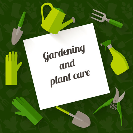 design tools: Flat design banner for gardening and plant care includes tools icons with long shadow.