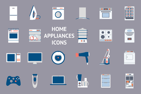 cooktop: Big collection of home appliances. Flat design set modern vector icons of home appliances isolated on background. Dishwasher, washing mashing, aircon and other house equipment.