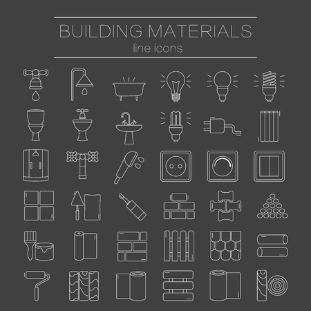 Big set of modern thin line icons building materials. Pictograms for DIY shop, construction and building materials. Vector illustration.